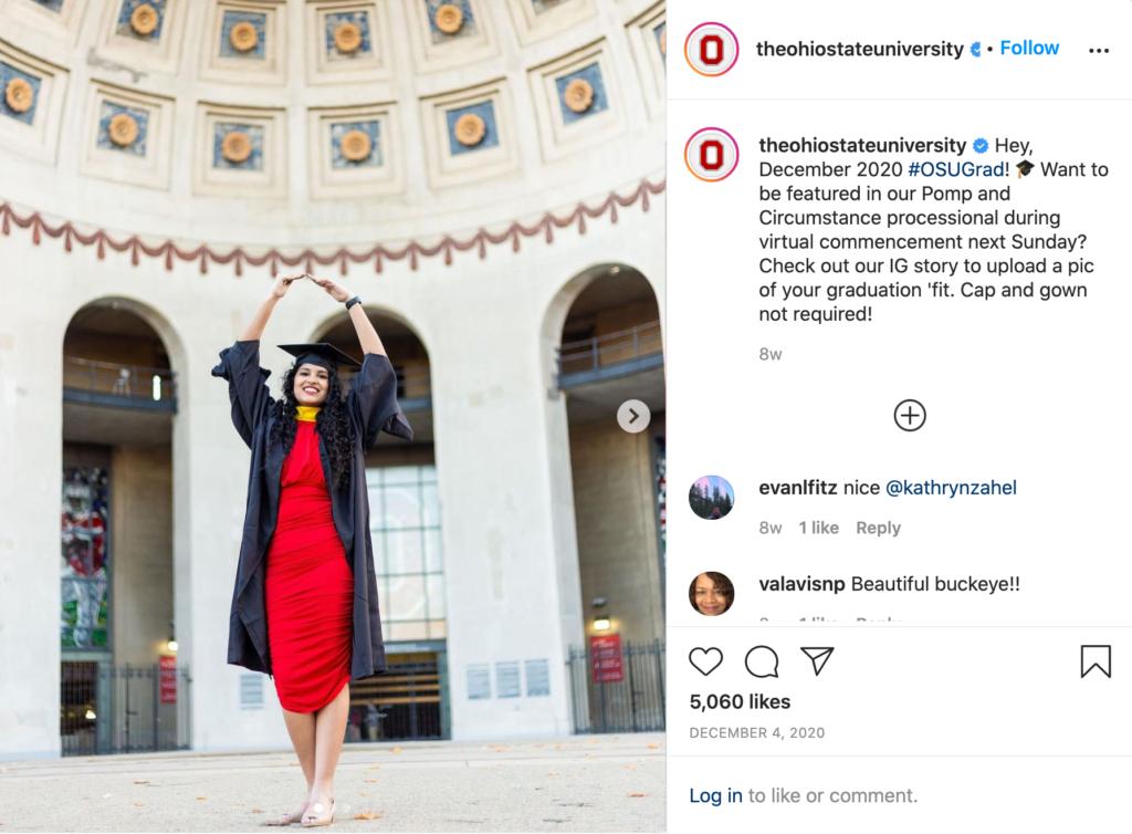 The Ohio State University's Instagram post