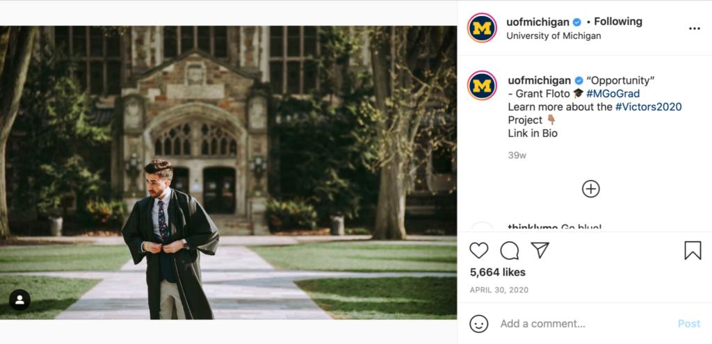 The University of Michigan's Instagram post