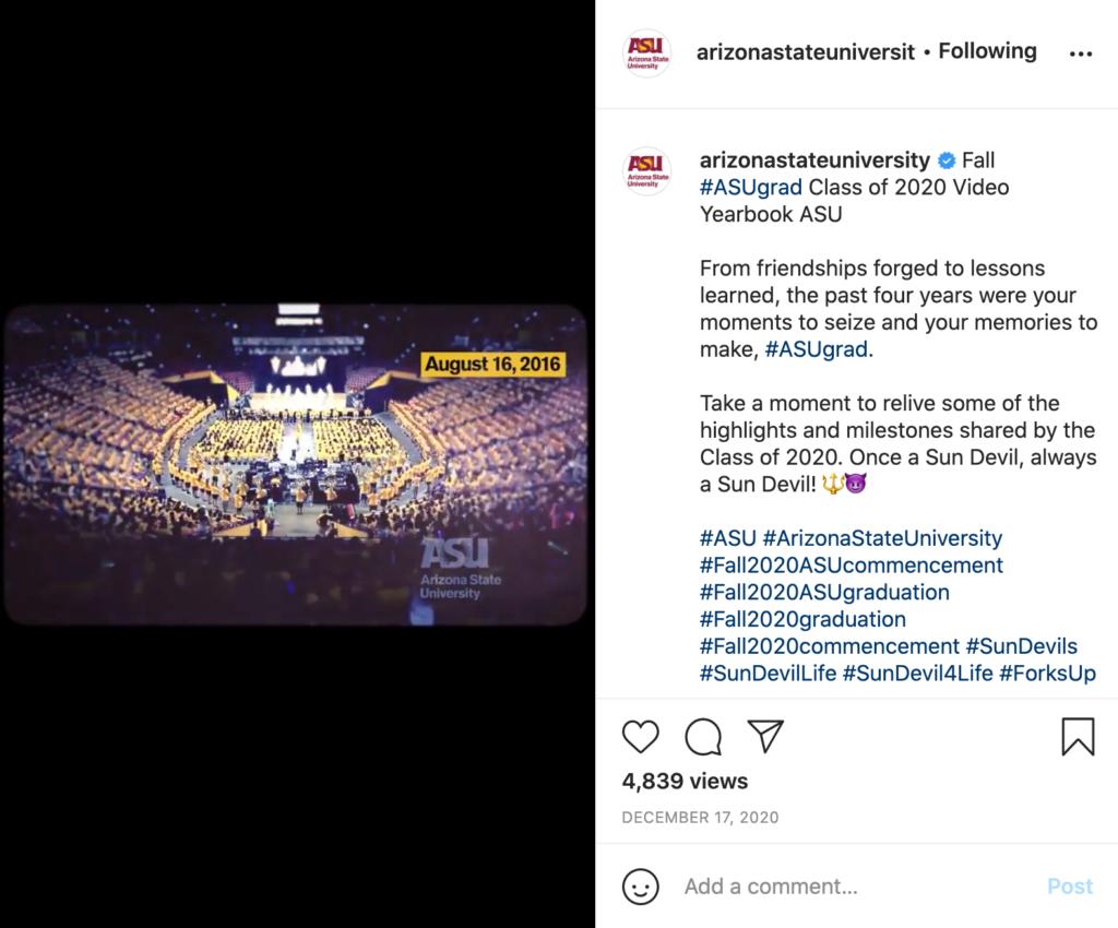 Arizona State University's Instagram post