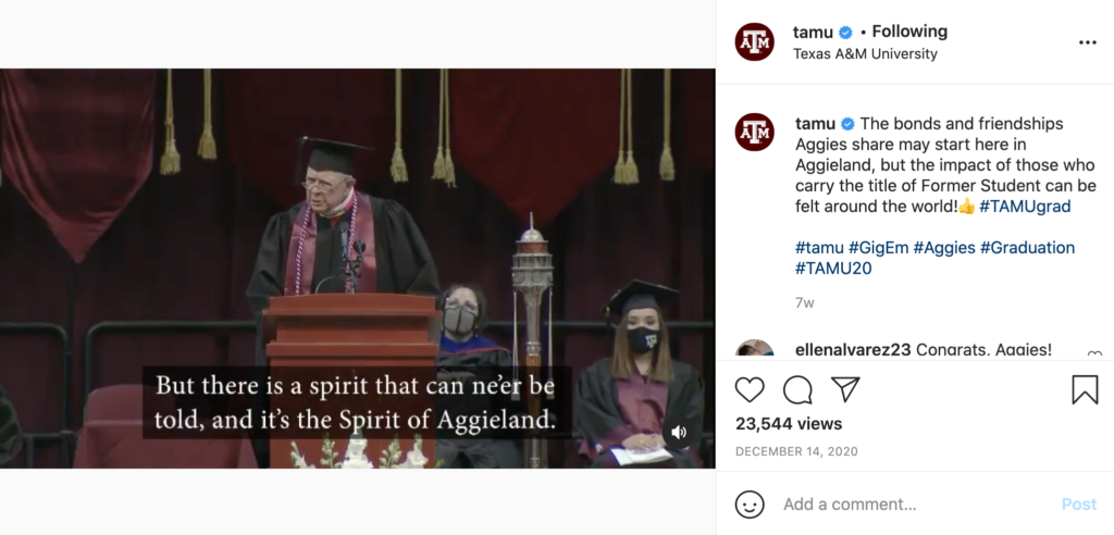 Texas A and M's Instagram post