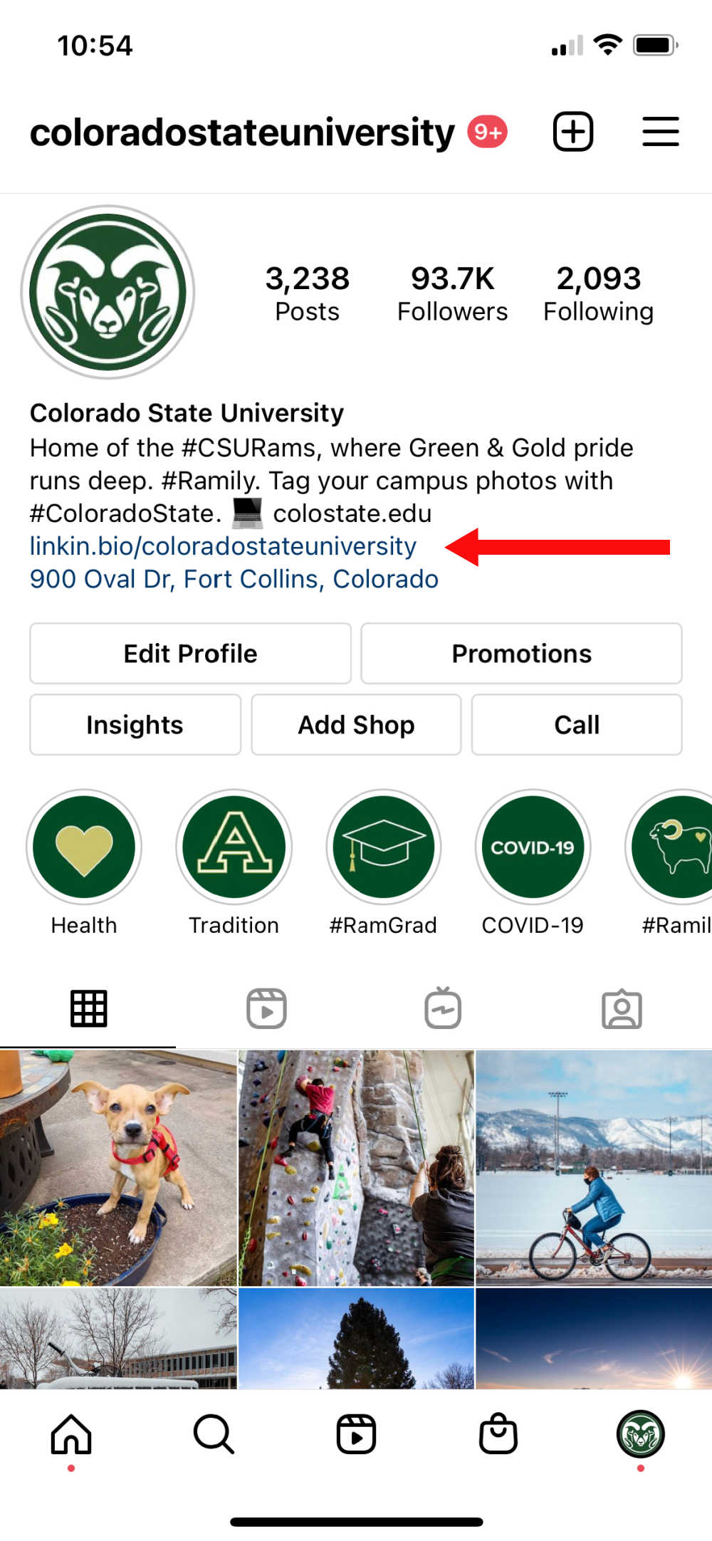 Screenshot of CSU's Instagram profile with arrow pointing to the linkin.bio section
