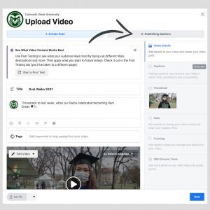 """A screenshot of """"Upload Video"""" window when uploading videos to Facebook."""