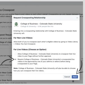 A screenshot of a dialogue box asking for permissions for live video crossposting on Facebook.