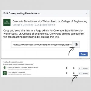 """A screenshot of """"Crossposting Permissions"""" window for Crossposting on Facebook."""
