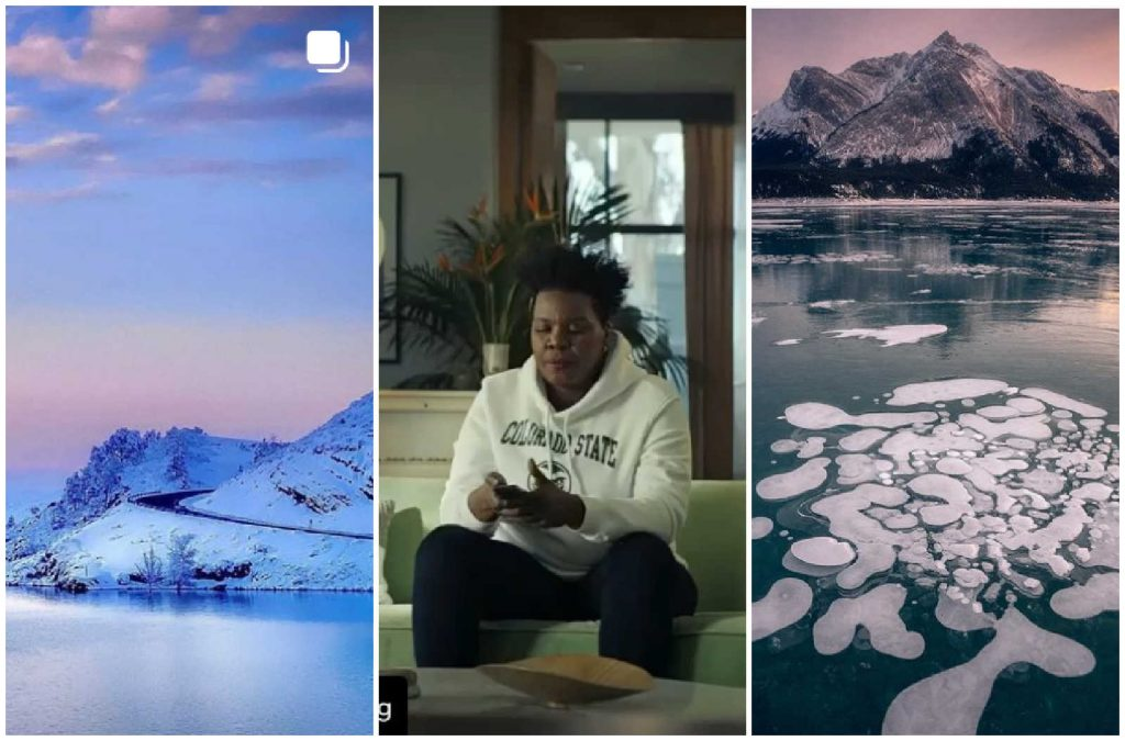 Collage of three photos: First is of snowy mountainside and reservoir, second is of actress Leslie Jones wearing CSU Rams sweatshirt, and third is ice chunks in a lake with a snowy mountain range in the background.