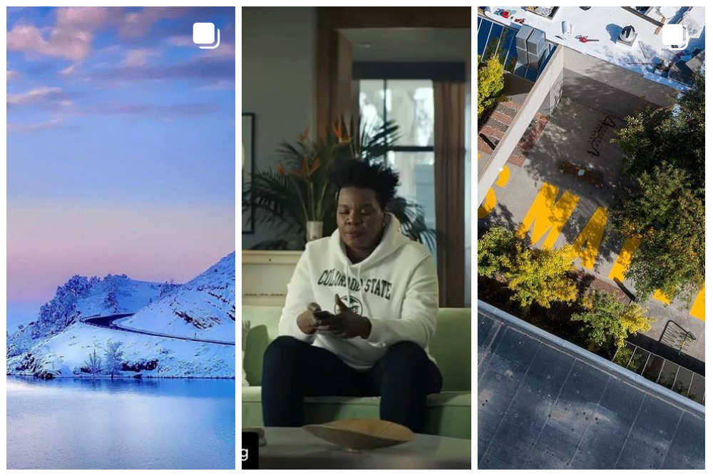 Collage of three photos: First is of snowy mountainside and reservoir, second is of actress Leslie Jones wearing CSU Rams sweatshirt, and third is the words Black Lives Matter painted in yellow on a sidewalk as a mural.