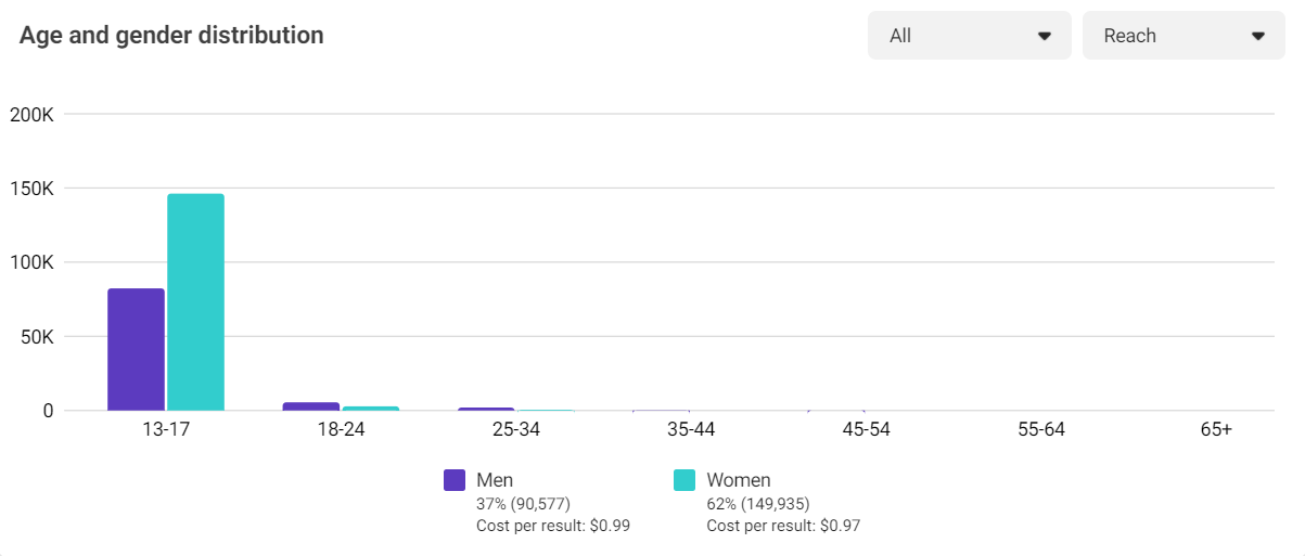 Instagram Demographic Chart for Instagram Reach Campaign